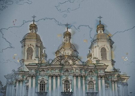 Saint Nicholas Cathedral, Nikolsky sobor, popularly known as the Sailors Chruch in Saint Petersburg, Russia. Vintage painting, background illustration, beautiful picture, travel texture
