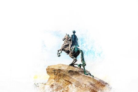 horseman: The Bronze Horseman - equestrian statue of Peter the Great in Staint-Petersburg, Russia. One of the major tourist attractions. Modern painting, background illustration. Stock Photo