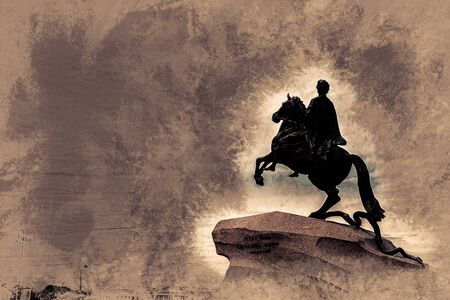 horseman: The Bronze Horseman - equestrian statue of Peter the Great in Staint-Petersburg, Russia. Vintage painting, background illustration, beautiful picture, travel texture