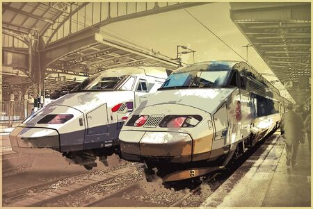 france station: Trains on Northern train station, Gare du Nord, Paris, France. Vintage painting, background illustration, beautiful picture, travel texture