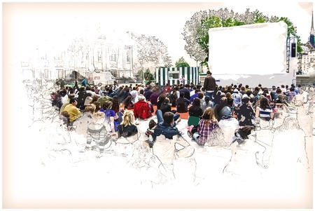 holiday blockbuster: people watch sports near Hotel de Ville in Paris, France. Vintage painting, background illustration, beautiful picture, travel texture