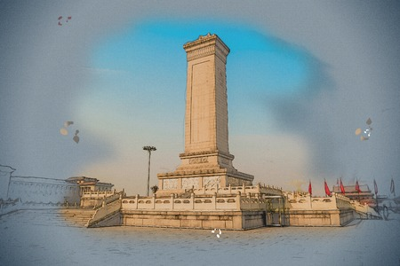 third world: Monument to the Peoples Heroes on Tiananmen Square - the third largest square in the world, Beijing, China. Vintage painting, background illustration, beautiful picture, travel texture