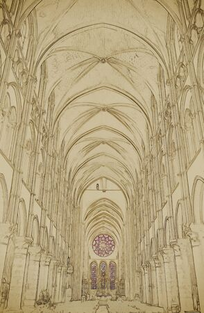 nave: Long Nave of a Gothic Church. Vintage painting, background illustration, beautiful picture, travel texture