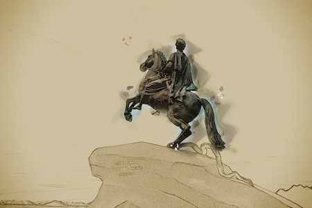 uomo a cavallo: The Bronze Horseman - equestrian statue of Peter the Great in Staint-Petersburg, Russia. Vintage painting, background illustration, beautiful picture, travel texture
