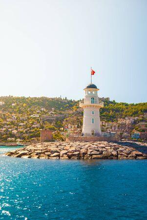 alanya: Lighthouse in Alanya, Turkey. Tourist destination.