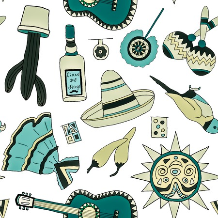 latinoamerica: Seamless pattern with fiesta elements. Meaxican holiday background with hand drawn doodles.