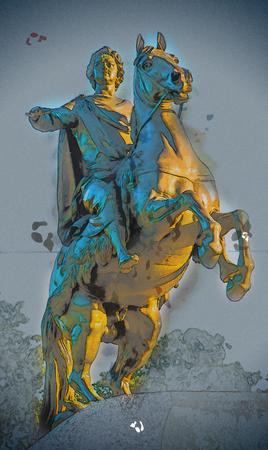 uomo a cavallo: Cavaliere di bronzo, statua equestre di Pietro il Grande, San Pietroburgo, Russia. pittura Vintage, illustrazione sfondo, bella immagine, tessitura di viaggio Archivio Fotografico