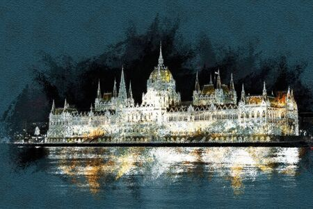 The Hungarian Parliament Building with bright and beautiful illumination at night. Modern painting, background illustration.