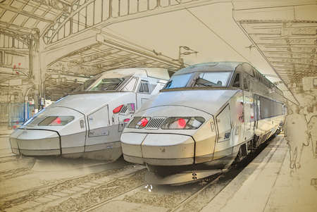 nord: Trains on Northern train station, Gare du Nord, Paris, France. Vintage painting, background illustration, beautiful picture, travel texture