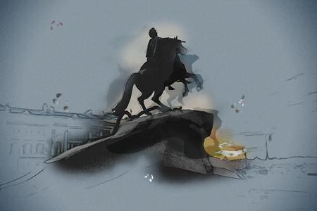 uomo a cavallo: Il cavaliere di bronzo - statua equestre di Pietro il Grande in Staint Pietroburgo, Russia. pittura Vintage, illustrazione sfondo, bella immagine, tessitura di viaggio