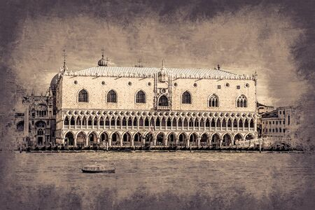 st  marks square: Piazza di San Marco view on Piazza di San Marco from a boat. Modern painting, background illustration, beautiful picture, creative image. Stock Photo