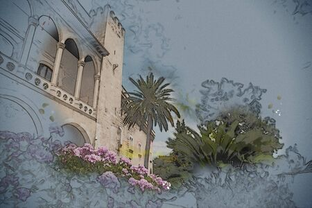 palma: Almudaina palace with blooming pink flowers against blue sky and clouds, Palma de Mallorca, Balearic islands, Spain. Modern painting, background illustration.