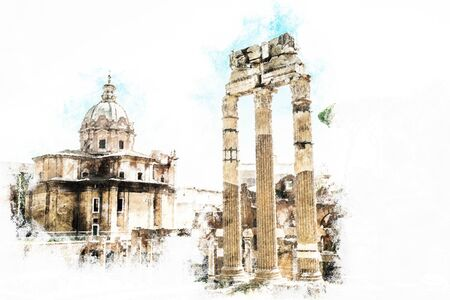 archaeological sites: Ruins of the Roman Forum in Rome, Italy. Rome is the 3rd most visited city in the European Union. Vintage painting, background illustration, beautiful picture, travel texture