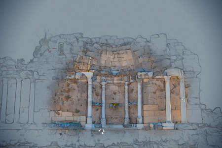 ruines de l'ancienne ville de Side, en Turquie. Peinture vintage, illustration de fond, belle image, texture de voyage Banque d'images