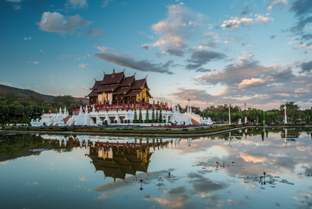 monastic: Sunset view of Royal Flora temple - ratchaphreuk - in Chiang Mai, Thailand