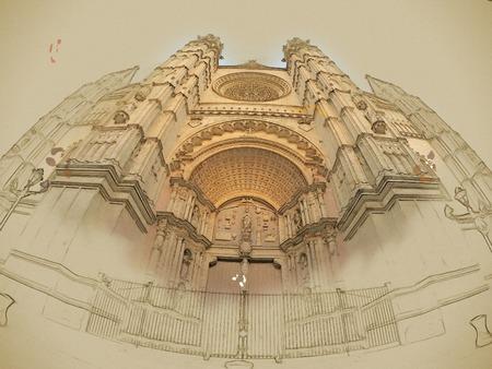 mallorca: The Cathedral of Santa Maria of Palma de Mallorca, La Seu, Spain. Touristic destinations in Palma. Wide lens shot of the main facade with beautiful portal. Modern painting, background illustration. Stock Photo