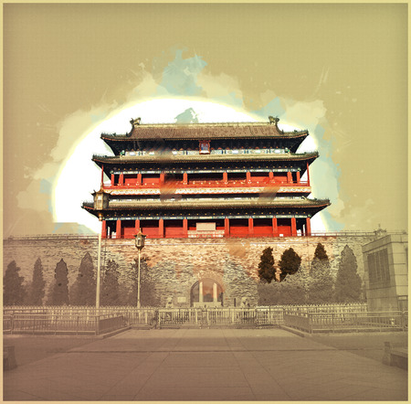 gatehouse: Beijing, China at the Zhengyangmen Gatehouse in Tiananmen Square. Beautiful historical building at sunset. Vintage painting, background illustration, beautiful picture, travel texture