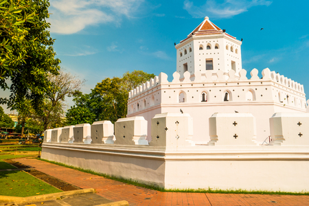 modernization: Phra Sumen Fort Bangkok, Thailand. It is the hexagonal-shape concrete fort built in the reign of King Rama I. It is one of two forts that have survived modernization. Stock Photo