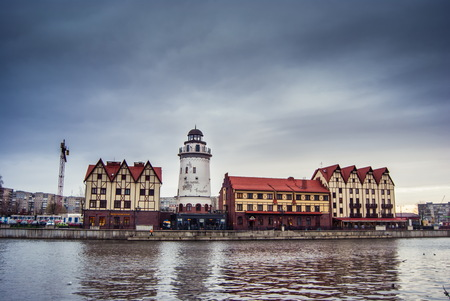 clearly: Fishing Village - ethnographic and trading-craft center in Kaliningrad. A famous klandmark in the city with buildings in the German style Stock Photo