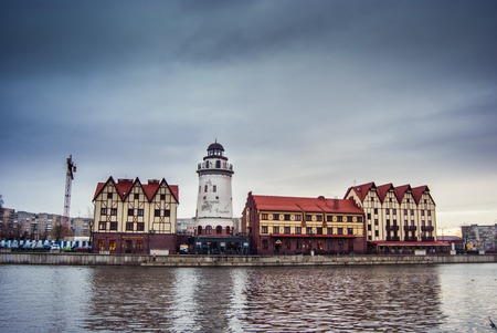 Fishing Village - ethnographic and trading-craft center in Kaliningrad. A famous klandmark in the city with buildings in the German style Stock Photo