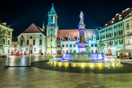 Beautiful and colorful night photo of the main square in Bratislava, Slovakia. Travel photography, tourist destination.