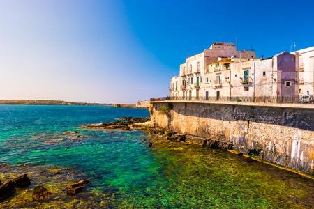 Coast of Ortigia island at city of Syracuse, Sicily, Italy. Stock Photo