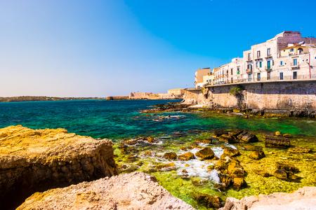 ortigia: Coast of Ortigia island at city of Syracuse, Sicily, Italy. Stock Photo