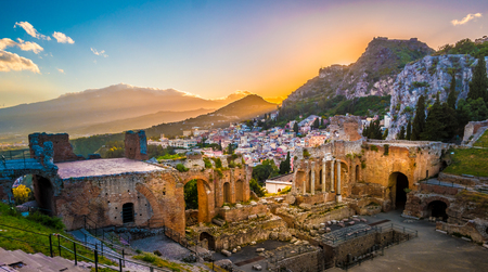 The Ruins of Taormina Theater at Sunset.
