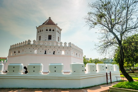 Phra Sumen Fort Bangkok, Thailand. It is the hexagonal-shape concrete fort built in the reign of King Rama I. It is one of two forts that have survived modernization. Stock Photo