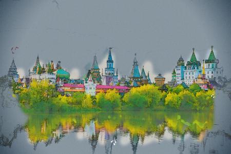 Hermoso paisaje con Izmaylovo Kremlin detrás de río y una zona verde, Moscú, Rusia. pintura de época, ilustración de fondo, hermoso cuadro, textura viajes