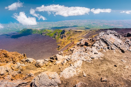 Landscape of Etna volcano, Sicily, Italy. Deserted martian-like surface.