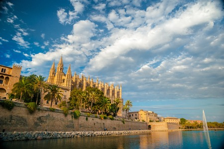 palma: Cathedral of Palma de Mallorca. Big gothic church on the sea shore. Beautiful travel picture of Spain.
