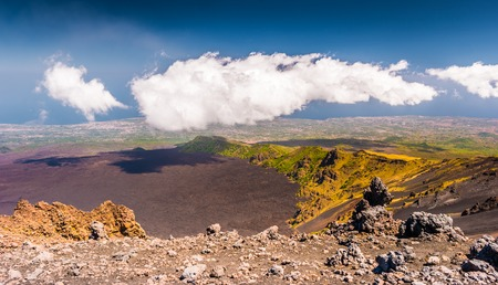 Landscape of Etna volcano, Sicily, Italy. Deserted martian-like surface. Beautiful Travel photography.