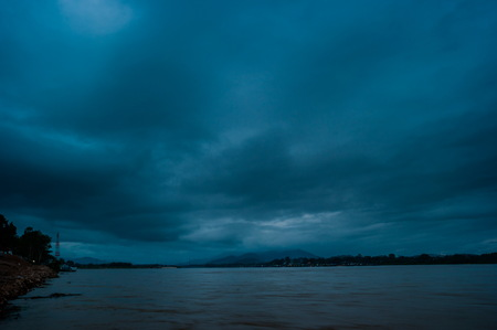 khong river: Sunset at The Mae khong river in Chiangsaen, Chiangrai in Thailand