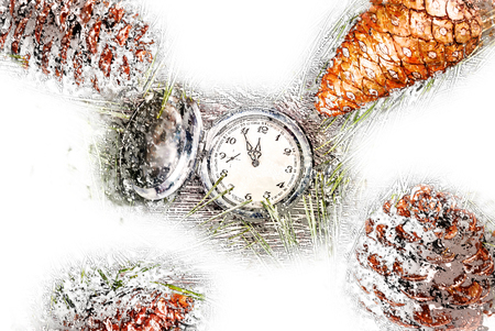 Christmas background with clock among fir tree, and cones. Image for banners, Advertising, and blogs. Holiday illustration, modern painting style texture