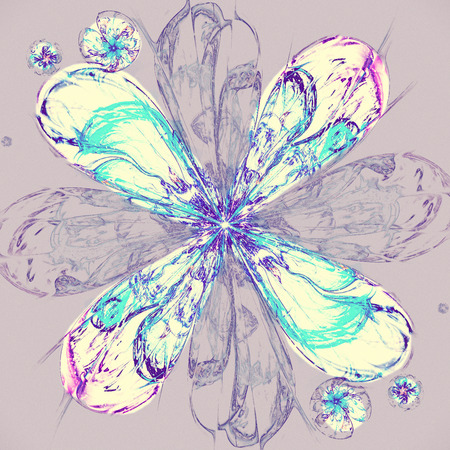 Fractal flower in snow-storm, frosty snowflake digital artwork for creative graphic design. Colorful texture with floral pattern. Digitally created artwork. Modern painting style texture
