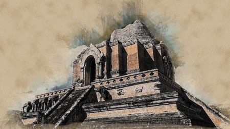 monastic: The temple wat Chedi Luang in Chiang Mai, Thailand. Big and beautiful ruins of ancient architecture in Thailand. Beautiful travel picture of Asia. Modern painting style texture. Travel illustration.
