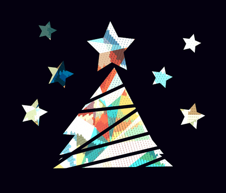 snippet: Flat christmas tree icon with colorful abstract pattern. Christmas background. Texture for New Year holidays and Christmas. Colorful background with simple stylized christmas tree.