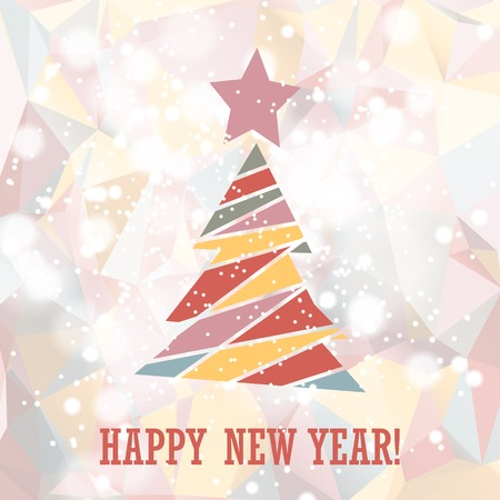 snippet: Flat christmas tree icon with triangles. Christmas background. Texture for New Year holidays and Christmas. Illustration