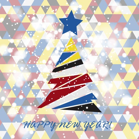 snippet: Flat christmas tree icon with triangles. Christmas background. Texture for New Year holidays and Christmas. Colorful background with simple stylized christmas tree.