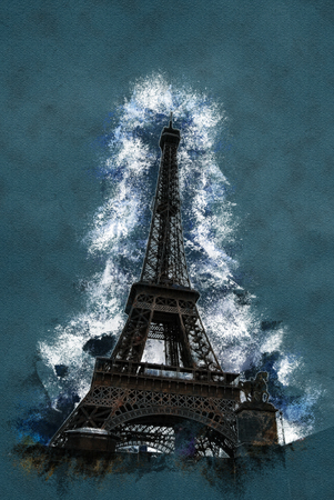 Eiffel tower at dusk, above clouds. viewd from Seine. Modern painting, background illustration, beautiful picture, creative image.