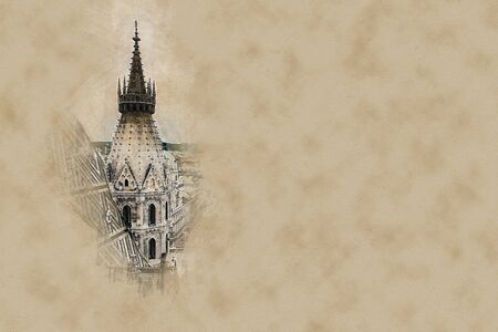 innere: Aerial view over the rooftops of Vienna from the north tower of St. Stephens Cathedral, Austria. Beautiful travel picture. Modern painting style texture. Travel illustration.