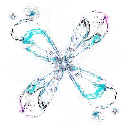 windstorm: Fractal flower in snow-storm, frosty snowflake digital artwork for creative graphic design. Colorful texture with floral pattern. Digitally created artwork. Modern painting style texture