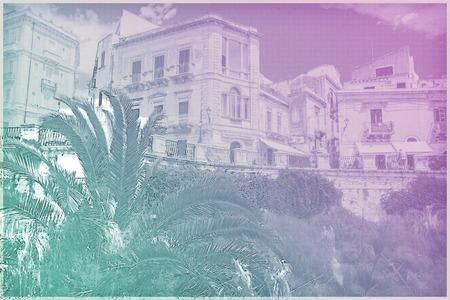 ortigia: Coast of Ortigia island at city of Syracuse, Sicily, Italy. Beautiful travel photo of Sicily. Modern painting style texture. Travel illustration.