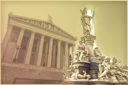 Austrian parliament building with Athena statue on the front in Vienna, Austria. Beautiful travel picture with sunset light. Modern painting style texture. Travel illustration.