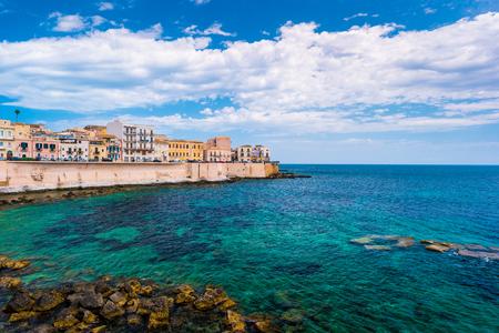 ortigia: Coast of Ortigia island at city of Syracuse, Sicily, Italy. Beautiful travel photo of Sicily.