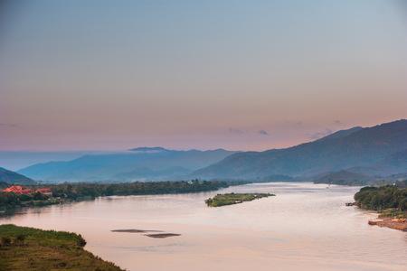 khong river: Sunset at The Mae khong river near Golden triangle, Chiangrai in Thailand