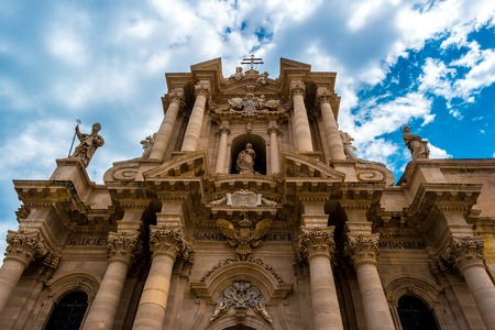 Piazza Duomo and Cathedral in Syracuse. Travel photo. Stock Photo