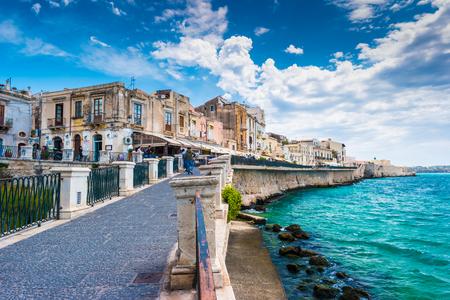 Coast of Ortigia island at city of Syracuse, Sicily, Italy. Beautiful travel photo of Sicily.