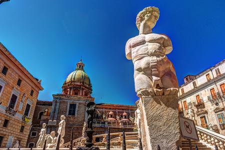 Famous fountain of shame on baroque Piazza Pretoria, Palermo, Sicily, Italy Stock Photo